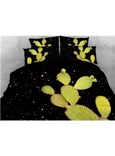 3D Cactus and Galaxy Digital Printing Cotton 4-Piece Bedding Sets/Duvet Covers