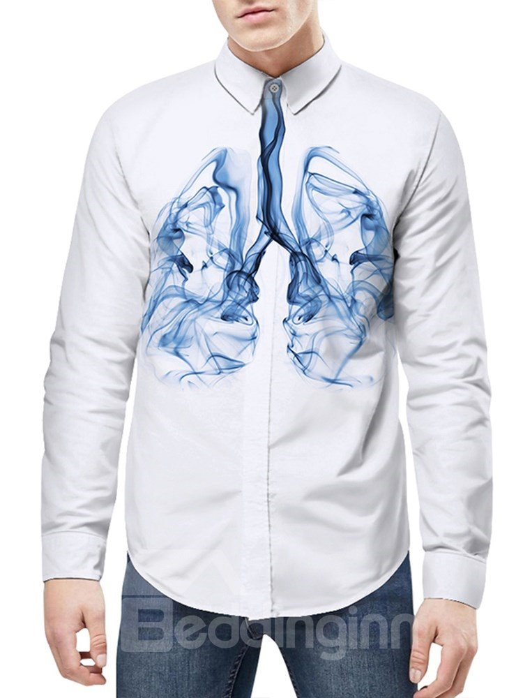 Quick-Dry Lightweight Long Sleeve Lapel Neckline 3D Painted Shirt