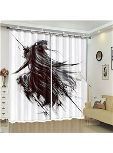 Horse Pattern 3D Polyester Custom Halloween Scene Curtain For Living Room