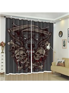 Skull And Wolf Pattern 3D Polyester Custom Halloween Scene Curtain For Living Room