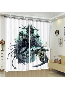 Orcish And Skull Pattern 3D Polyester Custom Halloween Scene Curtain For Living Room