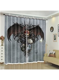 Bat And Skull Pattern 3D Polyester Custom Halloween Scene Curtain For Living Room