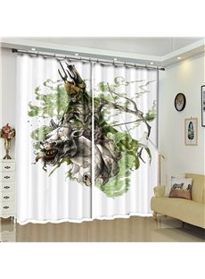 Orcish Pattern 3D Polyester Custom Halloween Scene Curtain For Living Room