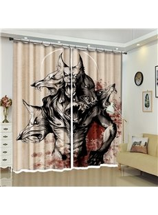 Werewolf Pattern 3D Polyester Custom Halloween Scene Curtain For Living Room