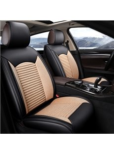 Normal Shape Leather mixed Flax Material Universal Fit Car Seat Covers
