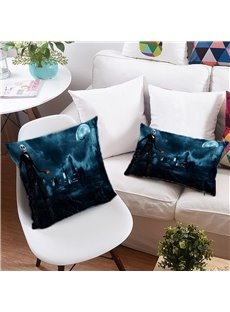3D Skull and Pumpkin Lantern Printing Polyester Throw Pillow
