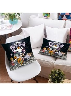 3D Halloween Trick or Treat Printing Polyester Throw Pillow