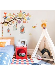 Cartoon Birds And Tree Pattern PVC Waterproof Home Decor Living Room Kids Room Wall Sticker