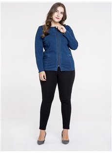 Short Length Zipper Denim Pure Color Plus Size Coat