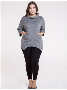 Half-Collar Three-Quarter Sleeve Cotton Pure Color Plus Size T-shirt