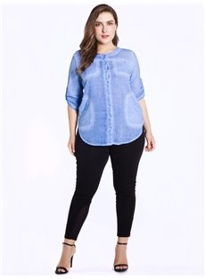 Half Sleeve Round Neck Washable Cotton Plus Size Blouse