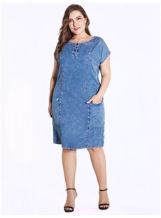 Round Neck Short Sleeve Knee-Length Denim Plus Size Dress