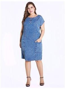 Round Neck Short Sleeve Knee-Length Denim Plus Size Dress