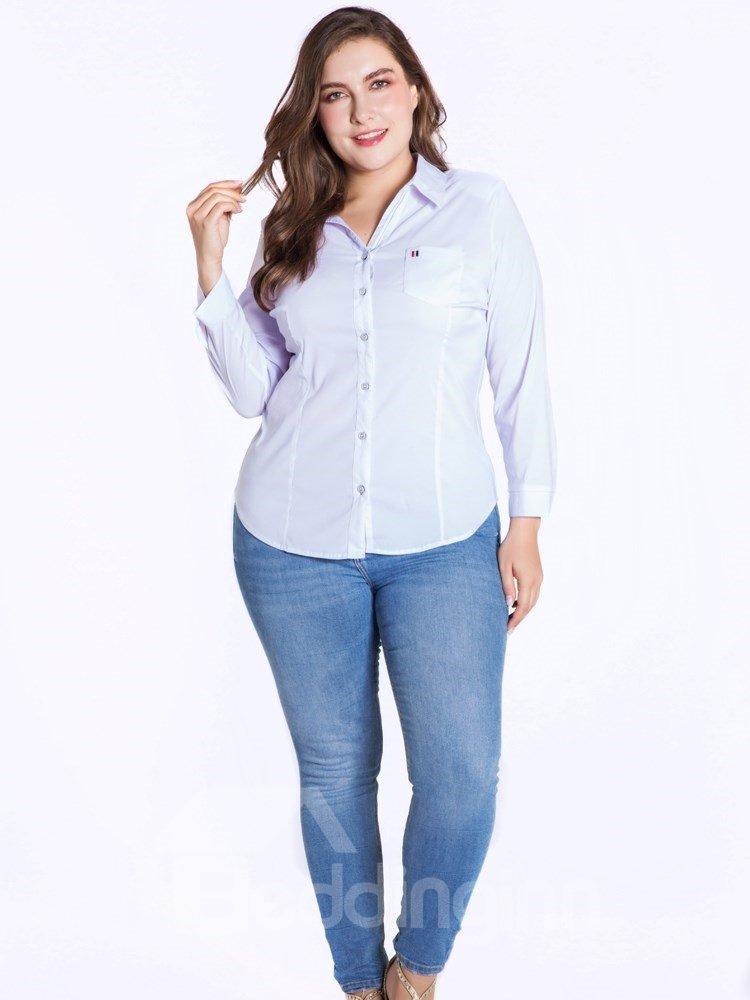 Long Sleeve Pure Color Buttons Cotton Lapel Plus Size Blouse