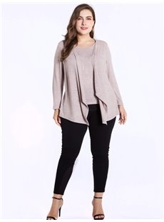 Long Sleeve Fake Two Pieces Irregular Round Neck Plus Size T-shirt