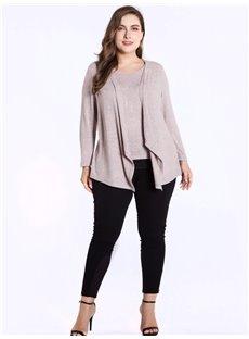 Long Sleeve Fake Two Pieces Irregular Round Neck Plus Size T-shirt