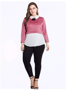 Long Sleeve Doll Collar Fake Two Pieces Loose Model Plus Size T-shirt