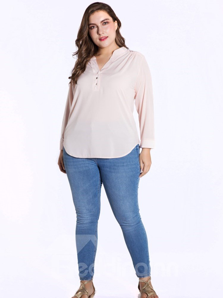 Long Sleeve V-Neck Pullover Chiffon Pure Color Plus Size Blouse