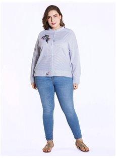 Stripe Pattern Embroidery Half-Collar Long Sleeve Cotton Blouse