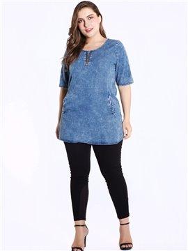 Short Sleeve Thin Sidekick Denim Mid-Length Loose Model T-shirt