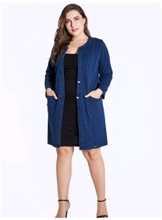 Mid-Length Loose Model Long Sleeve Denim Cardigan