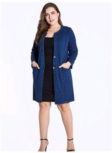 Mid-Length Loose Model Long Sleeve Denim Cardigan
