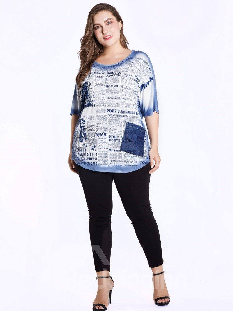 Half Sleeve Loose Model Letter Print Cotton Mid-Length T-shirt