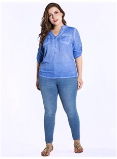 Slash Neck Loose Model Pullover Cotton Half Sleeve Blouse