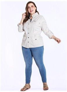 Three-Quarter Sleeve Single-Breasted Belt Short Length Dust Coat