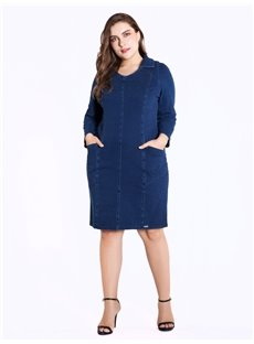 Denim Knee-Length Pullover Long Sleeve Plus Size Dress