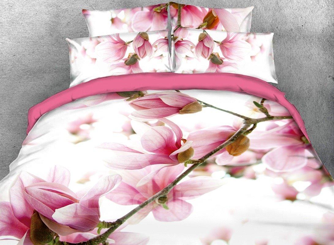 Vibrant Pink Flower Digital Printing Cotton 4-Piece 3D Bedding Sets/Duvet Covers