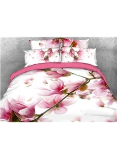 3D Vibrant Pink Flower Digital Printing Cotton 4-Piece Bedding Sets/Duvet Covers