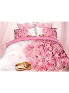 3D A Bunch of Pink Flowers and Ring Digital Printing Cotton 4-Piece Bedding Sets/Duvet Covers