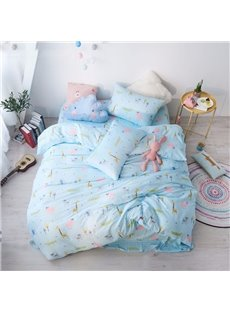 Blue Giraffe Pattern Simple Style 4-Piece Girl Bedding Sets/Duvet Cover