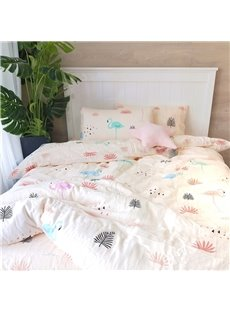 Flamingo Pattern White Simple Style 4-Piece Girl Bedding Sets/Duvet Cover