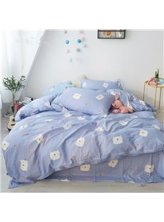 Cute Cartoon Cats Pattern Simple Style 4-Piece Kids Bedding Sets/Duvet Cover