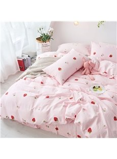 Sweet Style Strawberry Pattern 4-Piece Girl Bedding Sets/Duvet Cover