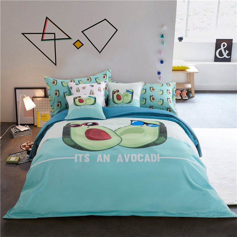 Avocado Wearing Sunglasses Turquoise Printing Polyester 4-Piece Bedding Sets/Duvet Cover