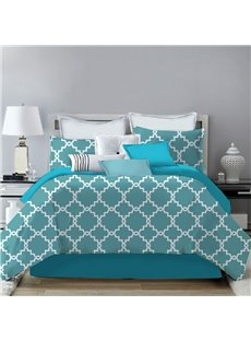 Plaid Geometric Hand-painted Turquoise 4-Piece Polyester Bedding Sets/Duvet Cover