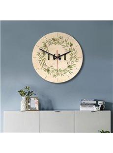 Plants Pattern Wood Material Kids Room Decor Mute Wall Clock