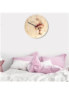 Cartoon Girl And Elephant Pattern Wood Material Kids Room Decor Mute Wall Clock