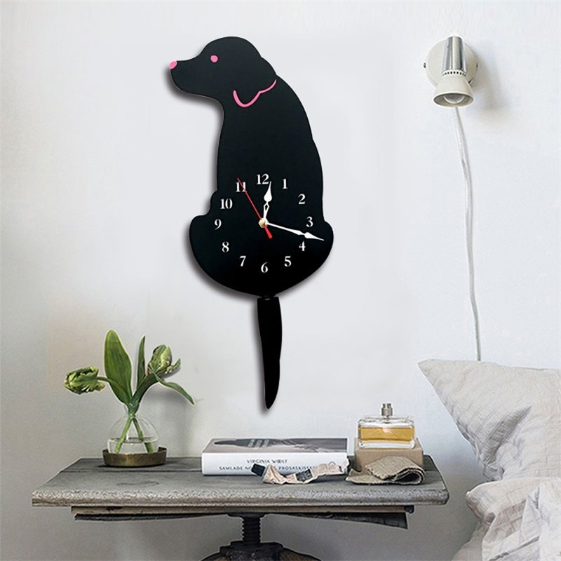 Funny Wagging Tail Dog Pattern Environment Friendly Acrylic Kids Room Decor Mute Wall Clock