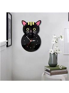 Black Cartoon Cats Pattern Environment Friendly Acrylic Kids Room Decor Mute Wall Clock