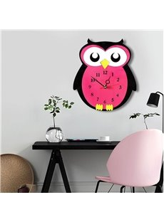 Red Cartoon Owl Pattern Environment Friendly Acrylic Kids Room Decor Mute Wall Clock