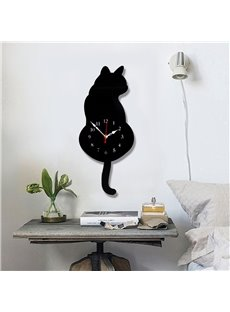 DIY Cute 2 Cats Pattern Environment Friendly Acrylic Material Kids Room Decor Mute Wall Clock
