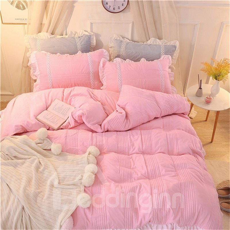 Pure Color and Stripes Simple Style Crystal Velvet Bed Skirt 4-Piece Bedding Sets/Duvet Cover