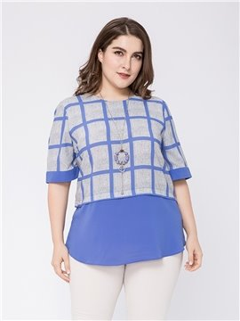 Half Sleeve Fake Two Pieces Plaid Round Neck Cotton Plus Size Blouse