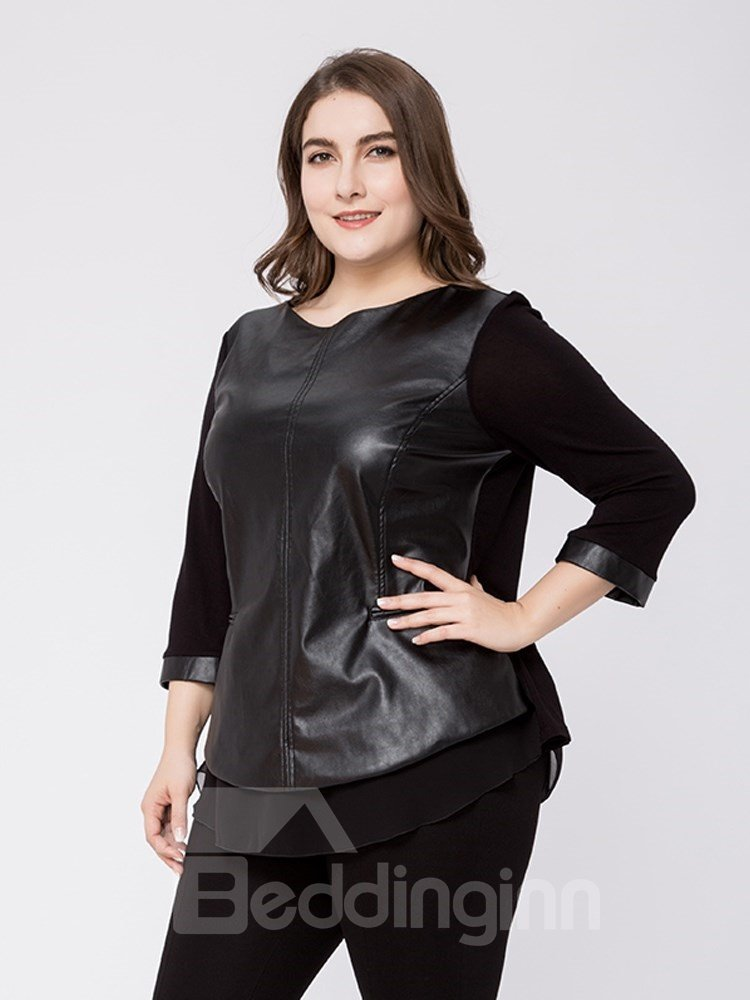 Loose Model Casual Style Cotton Standard Length Plus Size T-shirt
