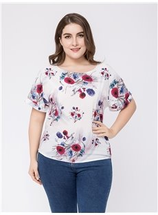 Short Sleeve Loose Model Cotton Standard Length Round Neck Plus Size T-shirt