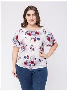 Short Sleeve Loose Model Cotton Standard Length Round Neck Plus Size T-shirt